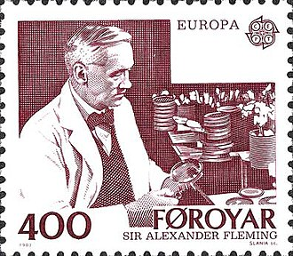 Alexander Fleming - Faroe Islands postage stamp commemorating Fleming