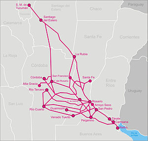 Railway nationalisation in Argentina - Image: Fc mitre map