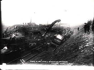 Felling, Tyne and Wear - The clean-up begins after the Felling derailment in 1907, which cost two lives and saw eight more seriously injured.