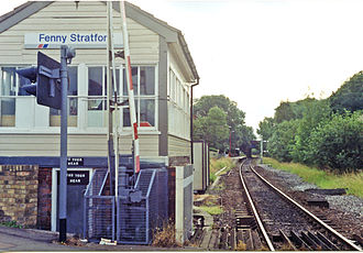 Fenny Stratford railway station - The signal box and station in 1991