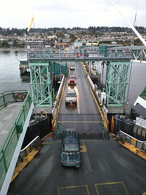 Edmonds–Kingston ferry - Loading vehicles at the Edmonds ferry terminal