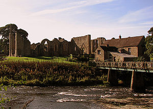 River Wear - Finchale Priory on the banks of the River Wear between Durham City and Chester-le-Street. Note the wooden footbridge across the river on the right of the photograph.