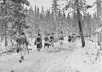 Operation Arctic Fox - Finnish soldiers east of Kestenga in the arctic forest.