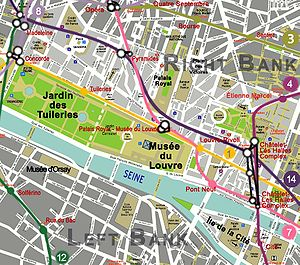 A map of the Louvre in the Ier arrondissement or Paris. Metro Lines serving the area are shown, with stations colored red. Note that the RER is not shown. Landmarks are in black.