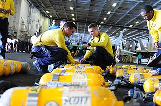 Breathing gas - Sailors check breathing devices at sea.