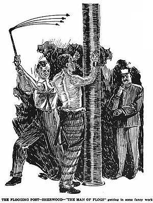 Corporal punishment - Depiction of a flogging at Oregon State Penitentiary, 1908