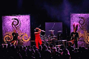 Flowing Tears performing live in 2004. From left to right: Benjamin Buss, Helen Vogt, Stefan Gemballa, Frédéric Lesny.