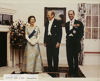 Embassy of the United Kingdom, Washington, D.C. - Queen Elizabeth II and the Duke of Edinburgh with President Gerald Ford at the British Embassy in July 1976