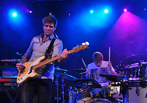Foster the People - Cubbie Fink (front) and Mark Pontius at the 2011 South by Southwest festival
