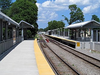Fairmount Line - Four Corners/Geneva Ave station shortly after its opening in July 2013
