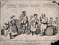 Four people with a donkey and baskets of goods are standing Wellcome V0039957.jpg