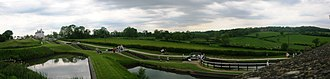 Foxton Locks - Panorama of the Upper Staircase