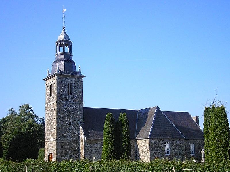 Folligny (Normandie, France). L'église de La Beslière.