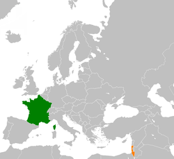 Map indicating locations of France and Israel