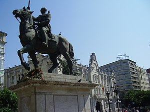 Francoist Spain - Equestrian statue of Generalisimo Franco in the Plaza del Ayuntamiento (City Hall Plaza) of Santander. It was taken down in late 2008.