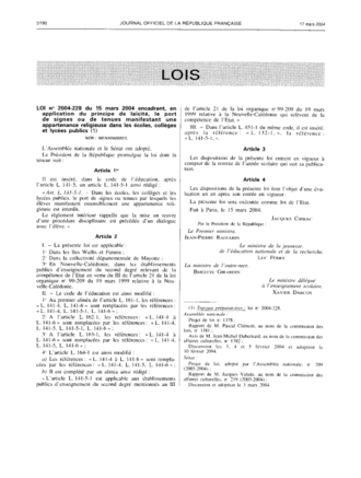 French law on secularity and conspicuous religious symbols in schools - The Law as published in the Journal Officiel de la République Française