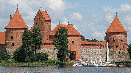 Trakai Island Castle, the former residence of the Grand Dukes and capital city of the medieval state Front facade of the Trakai Island Castle, 2009.jpg