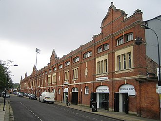 Craven Cottage - The facade of the Johnny Haynes stand