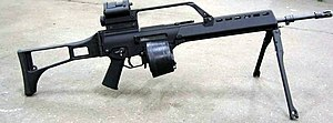 Beta C-Mag - A Heckler & Koch G36 of the German Army equipped with a Beta C-Mag and bipod stand.