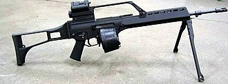 """Beta C-Mag - A Heckler & Koch G36 of the German Army equipped with a Beta C-Mag and bipod stand, a configuration often mistakenly referred to as an """"MG36"""""""