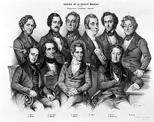 "George Onslow (composer) - ""Galerie des compositeurs dramatiques modernes"" (1844) by Nicolas-Eustache Maurin (d. 1850). The engraving shows (back row left to right): Hector Berlioz, Gaetano Donizetti, Onslow, Daniel Auber, Mendelssohn, Henri-Montan Berton; (front row left to right): Fromental Halévy, Giacomo Meyerbeer, Gaspare Spontini, Gioacchino Rossini"
