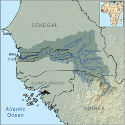 Map of the Gambia River drainage basin