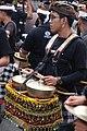 Gamelan player at Balinese cremation Ngaben ceremony.jpg