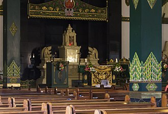 Christianity in Indonesia - The church of Ganjuran in Yogyakarta features Javanese and Hindu element.