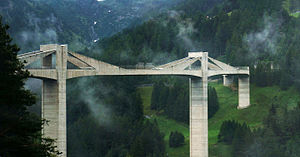 Extradosed bridge - Ganter Bridge, Switzerland 1980. Main span 174m.