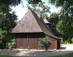 church with steep angled roof