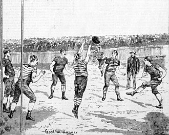 "Football match between Geelong and Melbourne. The two clubs fought over which side ""owned"" Wills. Geelong Melbourne 1880.jpg"