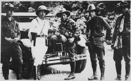 Rebel leader Augusto Cesar Sandino (center) General Sandino (center) and Staff enroute to Mexico. Siglo XX., 06-1929 - NARA - 532357.tif