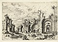 Gezicht op de Thermen van Diocletianus Ex Rvinis Thermarvm Imp Diocletianvs (titel op object) Romeinse ruïnes (serietitel), RP-P-1882-A-6453.jpg