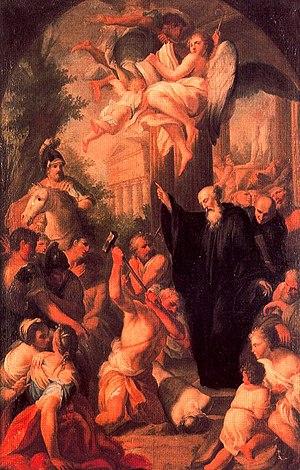 Giacomo Triga - St Benedict destroys the idol of Apollo