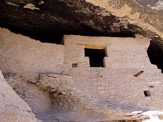 Gila Cliff Dwellings National Monument - T-shaped doorway, common in precontact Southwestern stacked stone buildings