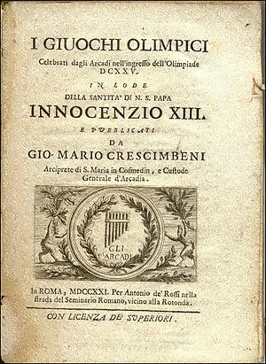Giovanni Mario Crescimbeni - The Olympic Games.