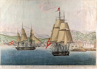 Maria Leopoldina of Austria - A coloured engraving representing Austria and Augusta, the two ships that took Leopoldina to Brazil, departing from Trieste