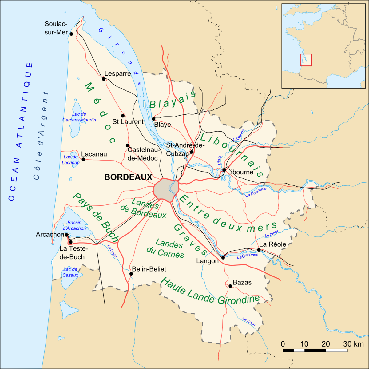 File Gironde Map Routes Villes Png Wikimedia Commons