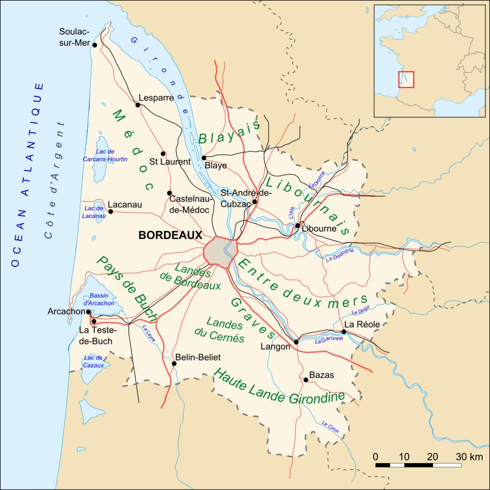 Gironde map routes villes