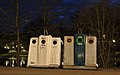 Glass salvage containers in front of Park Tenreuken during the evening nautical twilight (Auderghem, Belgium, DSCF2732).jpg