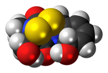 Space-filling model of the gliotoxin molecule