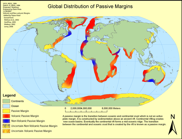 Map showing the distribution of Earth's passive margins (yellow swaths). Globald.png