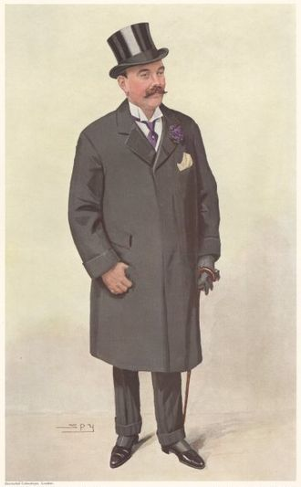 "Godfrey Baring - ""Isle of Wight"" Baring as caricatured by Spy (Leslie Ward) in Vanity Fair, September 1910"