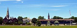 The churches of downtown Goshen seen from the backstretch at the Historic Track.