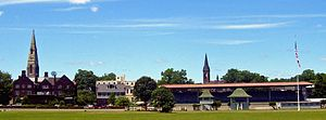 Goshen (village), New York - The churches of downtown Goshen seen from the backstretch at the Historic Track.