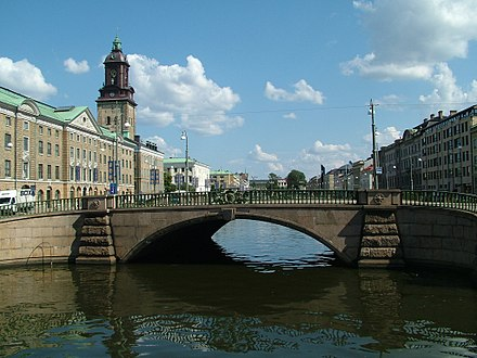 Many buildings in the old part of the city were built along canals. Gothenburgcity.jpg