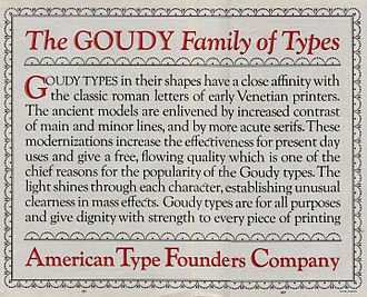 Goudy Old Style - Image: Goudy ATF specimen