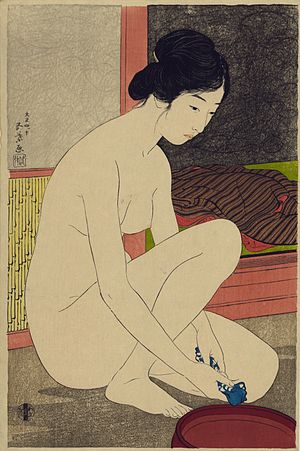 Shin-hanga - Woman At Her Bath, by Hashiguchi Goyō (1915)