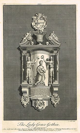 Frances Norton, Lady Norton - Lady Grace Gethin's memorial in Westminster Abbey. She is flanked by her mother and a friend