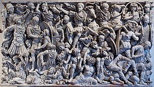 History of art - Ludovisi Battle sarcophagus (250-260 CE), with battle between Roman soldiers and barbarians. The general may be Hostilian, Emperor Decius' son (died 252 CE).